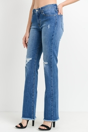 just black Frayed Bootcut Jeans - Front full body