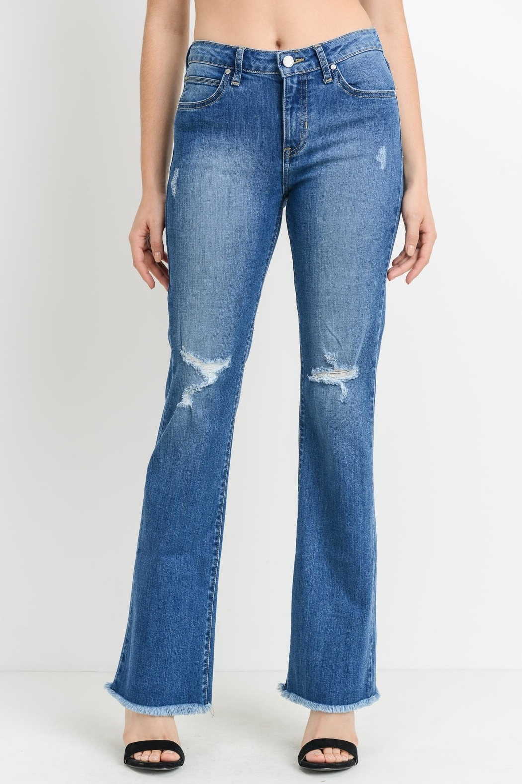 just black Frayed Bootcut Jeans - Main Image