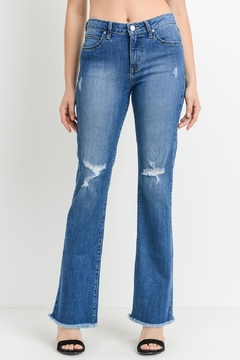 just black Frayed Bootcut Jeans - Product List Image