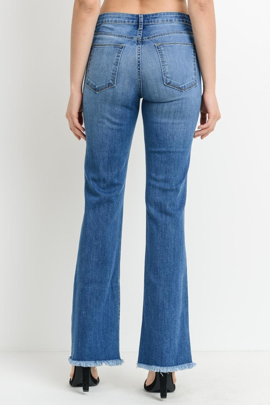 just black Frayed Bootcut Jeans - Side Cropped Image