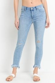 just black Frayed Hem Denim - Front cropped