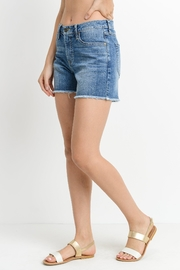 just black Frayed-Hem Shorts, Denim - Front full body