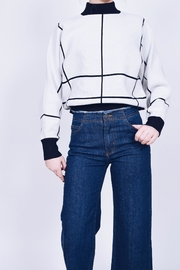 just black Frayed Wide-Leg Jeans - Front full body
