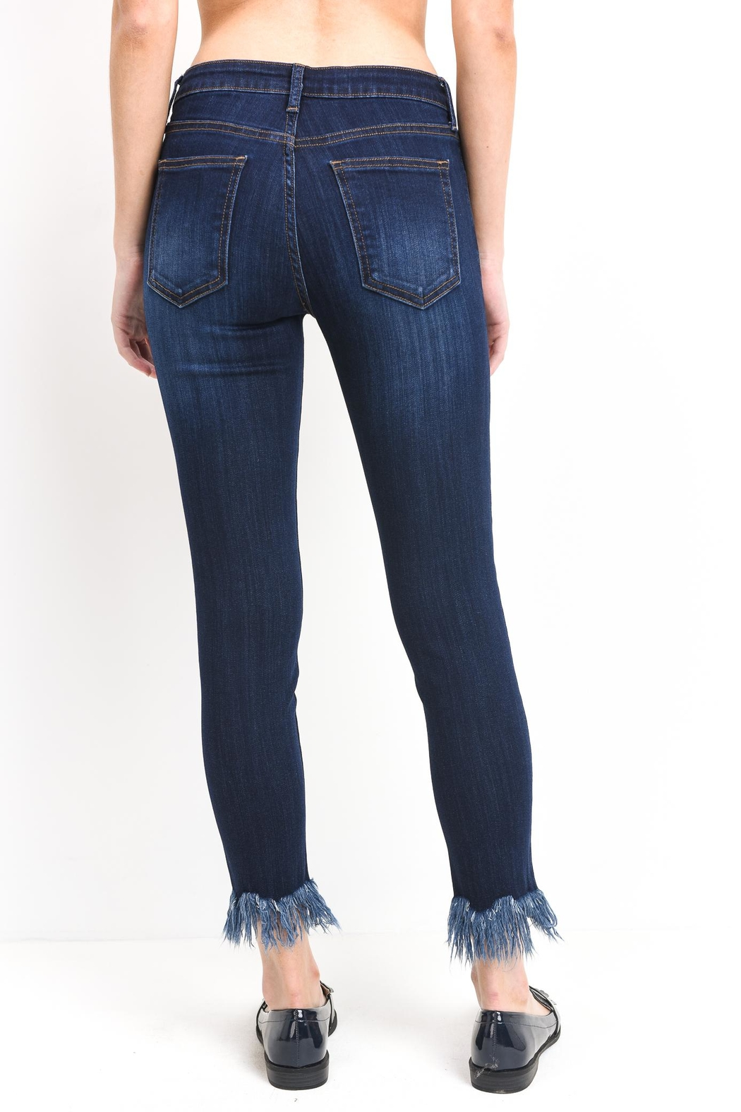 just black Fringe Skinny Jeans - Side Cropped Image