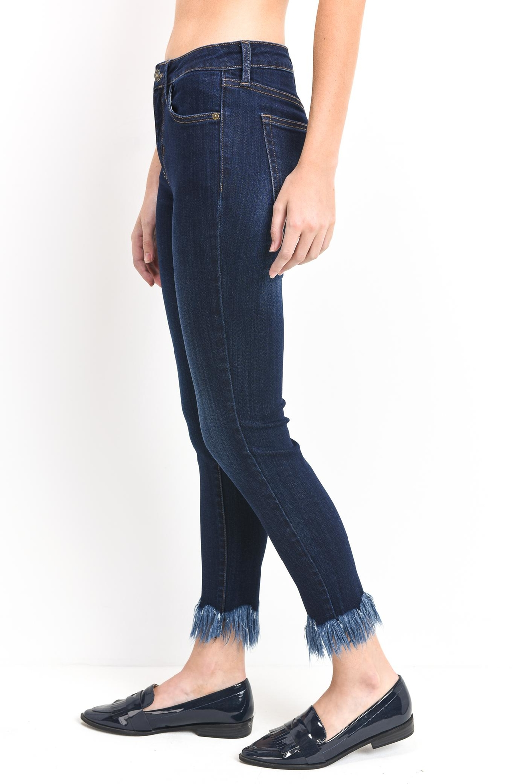 just black Fringe Skinny Jeans - Front Full Image
