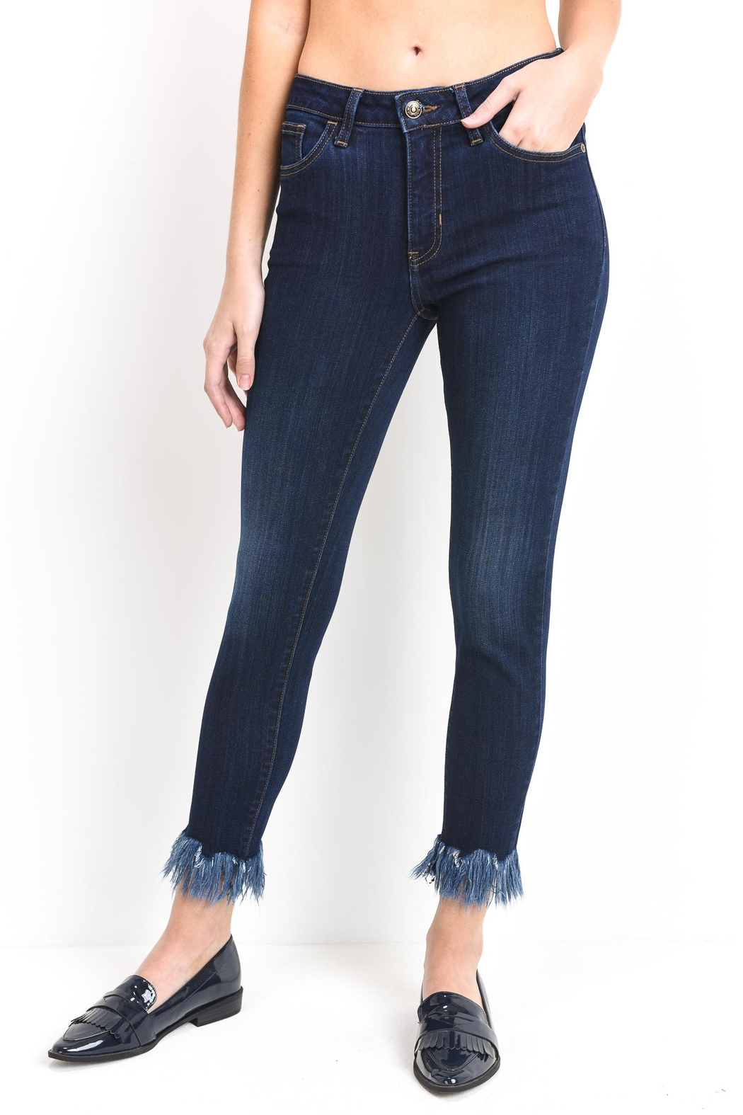 just black Fringe Skinny Jeans - Main Image