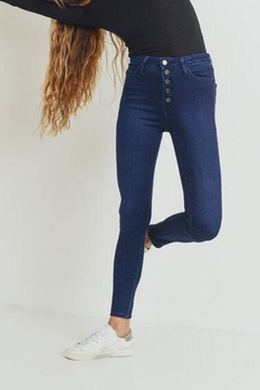 just black High-Rise Button-Down Skinny-Jeans - Alternate List Image