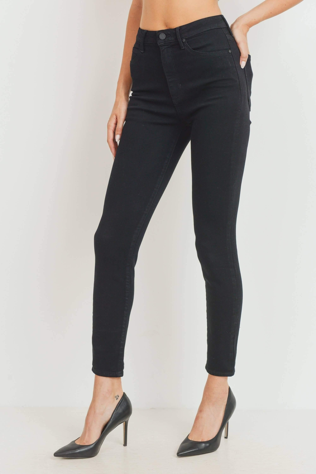 just black High-Rise Classic Skinny-Jeans - Front Full Image