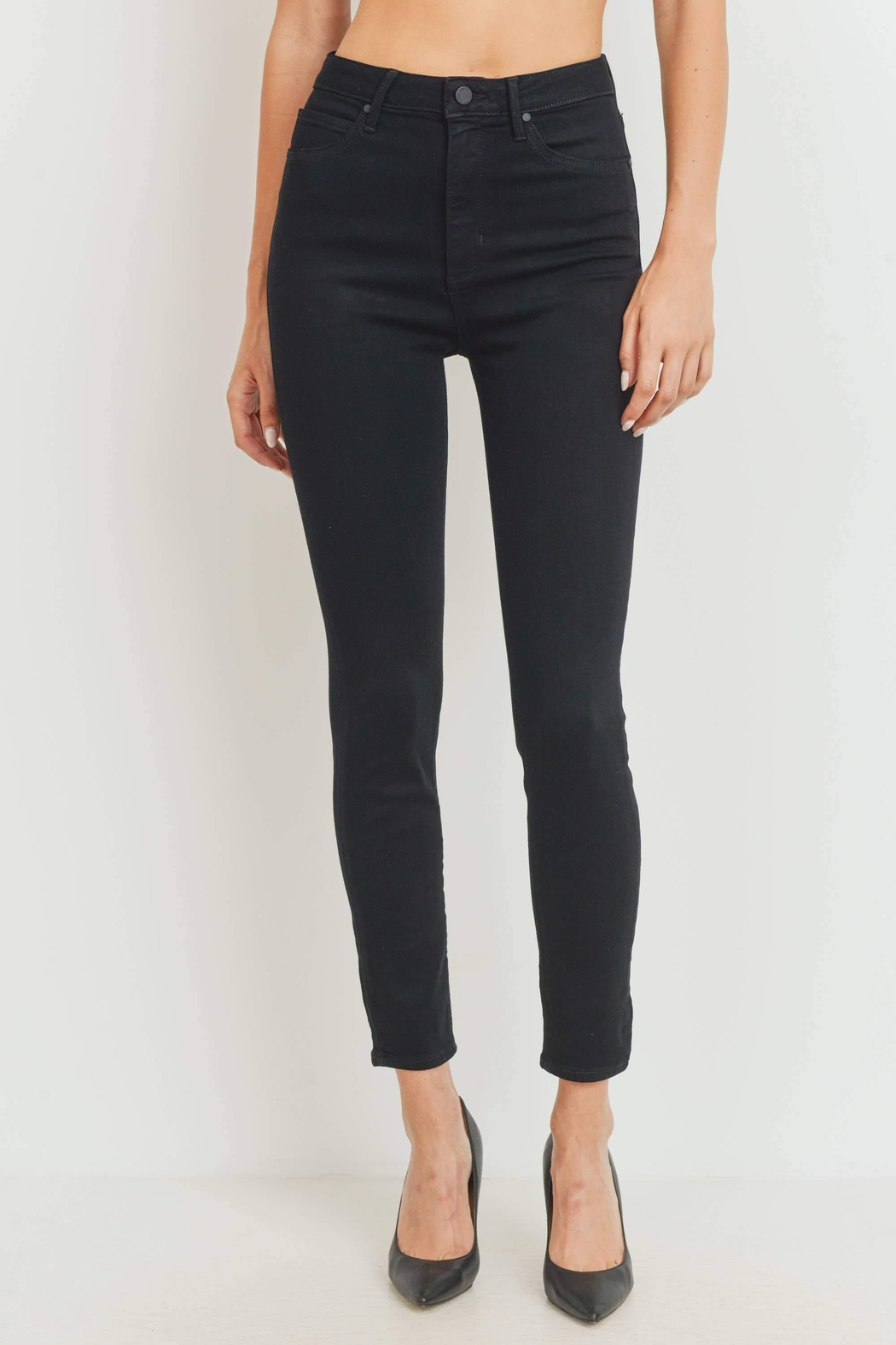 just black High-Rise Classic Skinny-Jeans - Main Image
