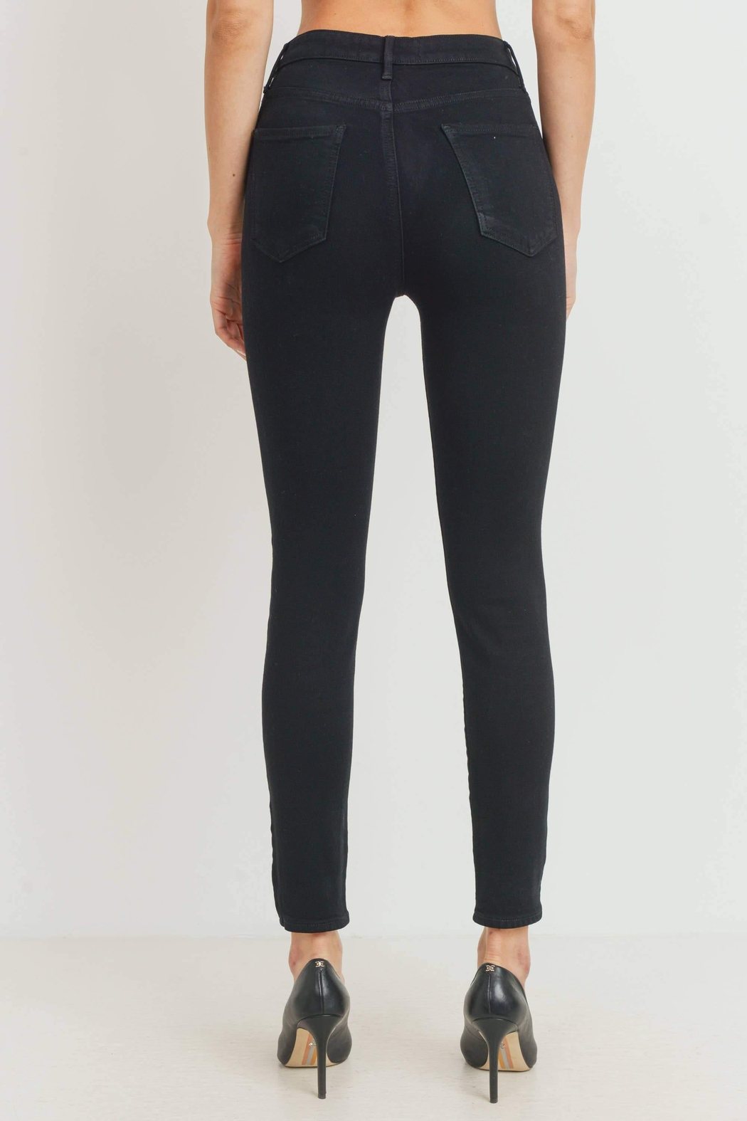 just black High-Rise Classic Skinny-Jeans - Side Cropped Image