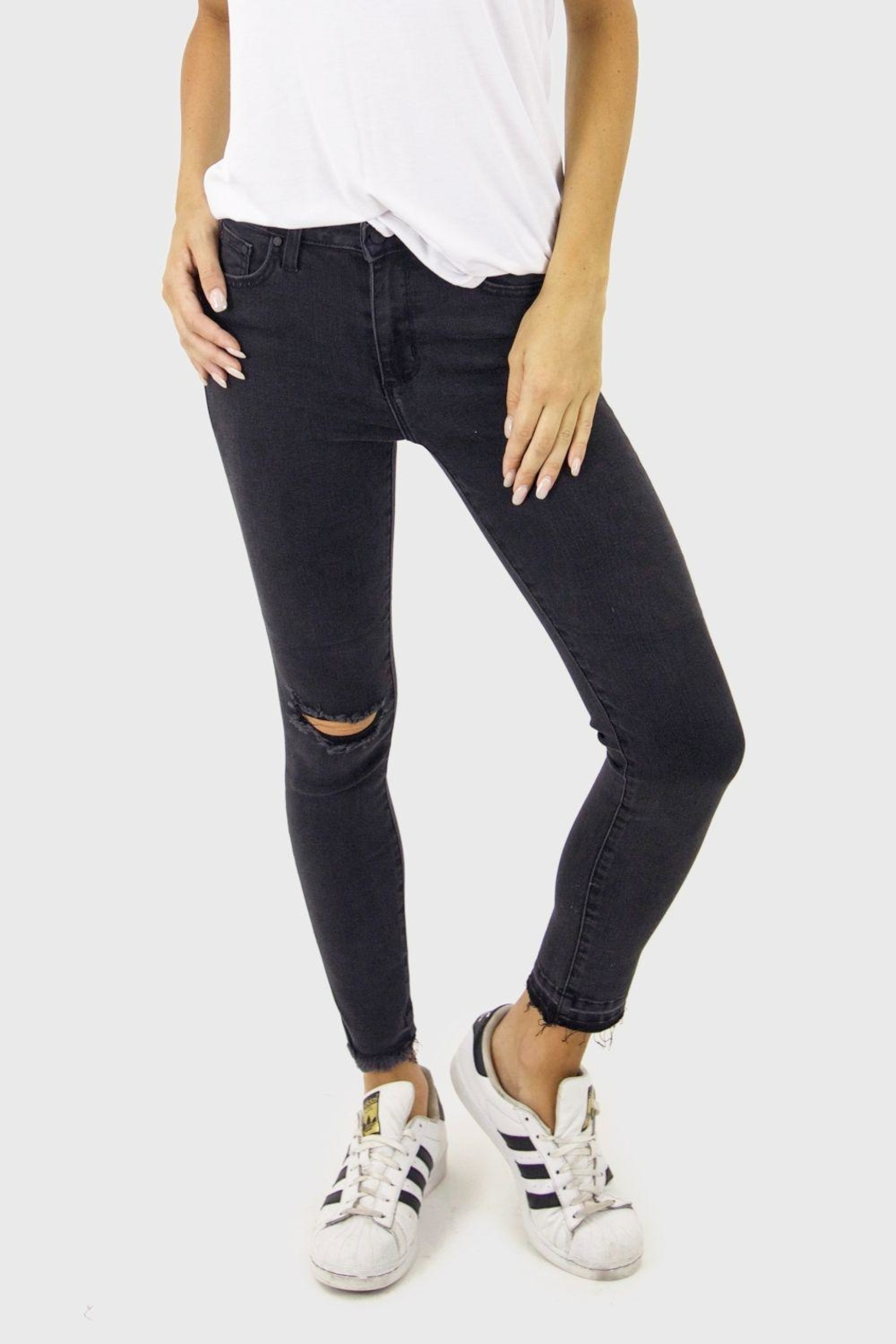 just black High Rise Denim Jeans - Front Cropped Image