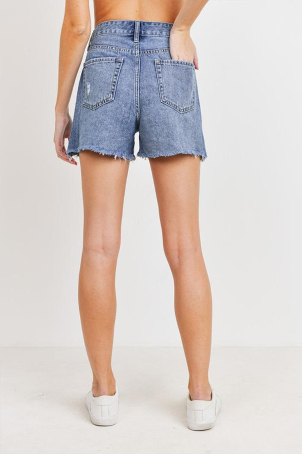just black High Rise Shorts - Side Cropped Image