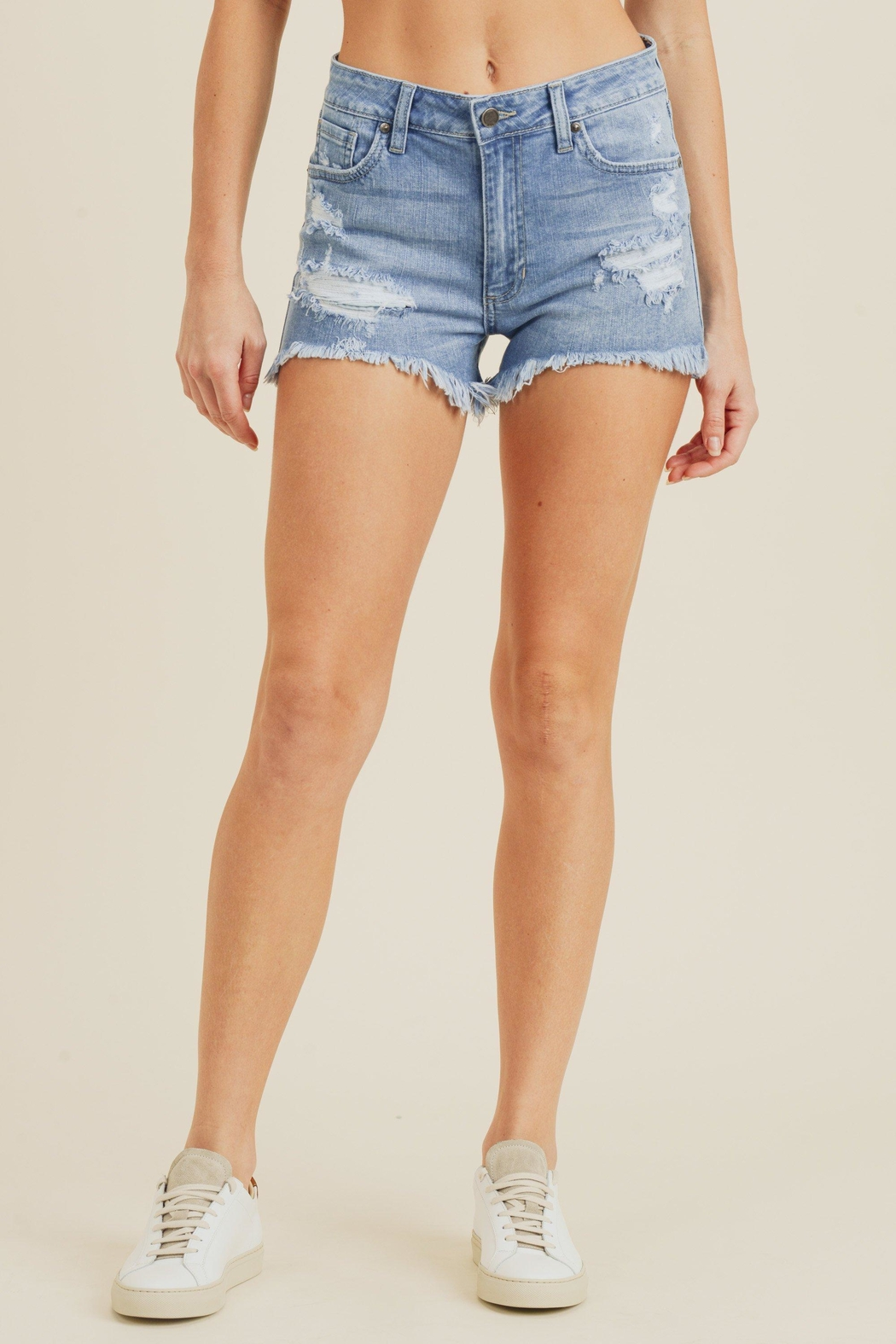 just black High-Rise Shorts, Denim - Front Cropped Image