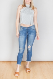 just black High Rise Cropped Hem Jeans - Front full body