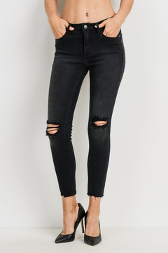 just black Knee Slit Cropped-Denim - Product List Image