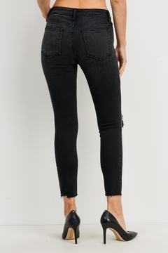 just black Knee Slit Cropped-Denim - Alternate List Image