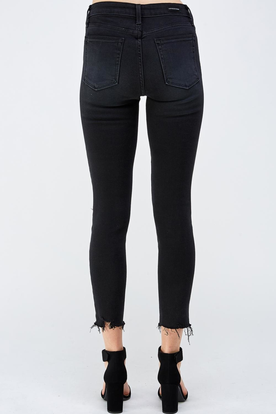 just black Knee Slit Denim - Back Cropped Image
