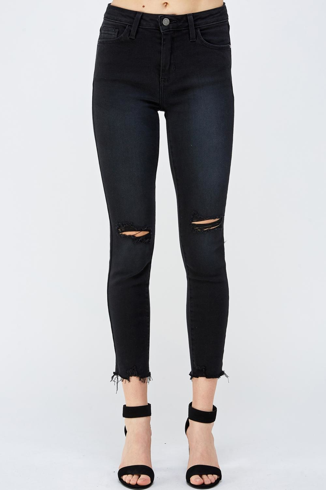 just black Knee Slit Denim - Main Image
