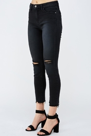 just black Knee Slit Denim - Front full body