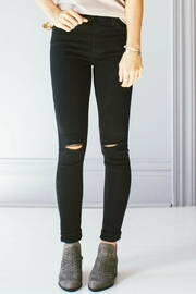 just black Knee Slit Skinny Jeans - Product Mini Image