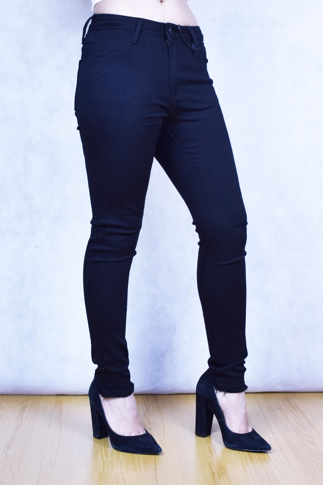 just black Midrise Frayed Hem - Front Full Image