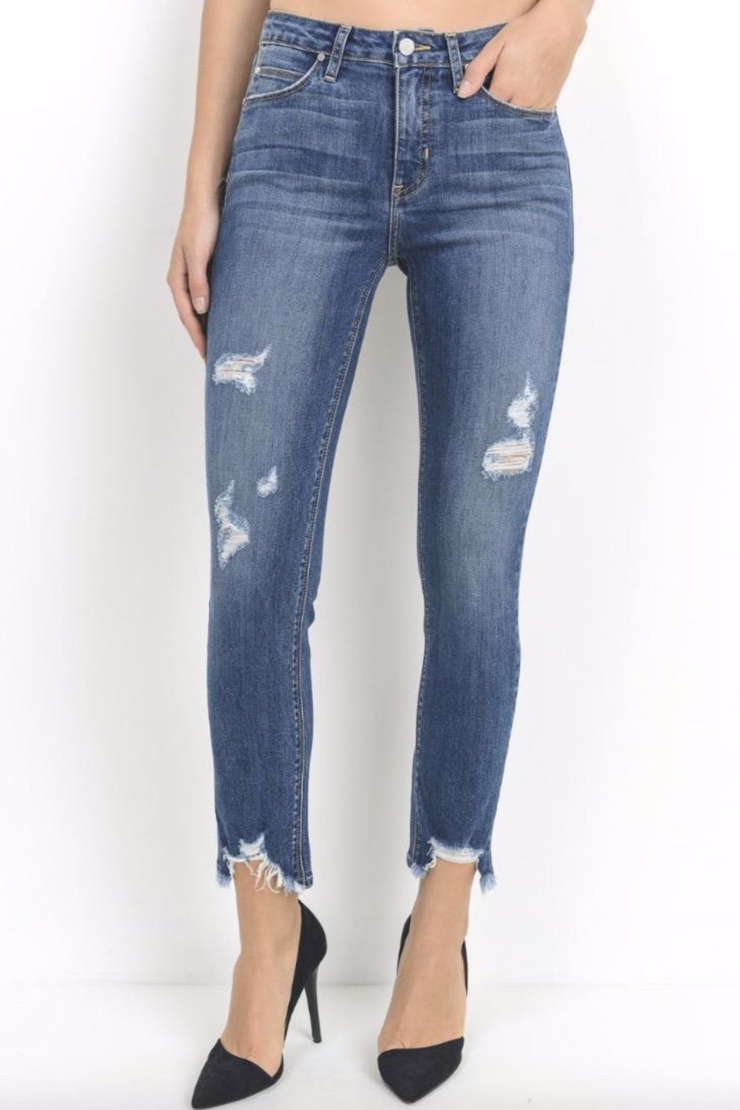 just black Raw Hem Skinnies - Front Cropped Image