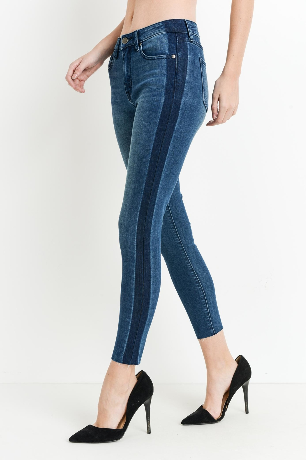 just black Shadow Stripe Skinny - Front Cropped Image