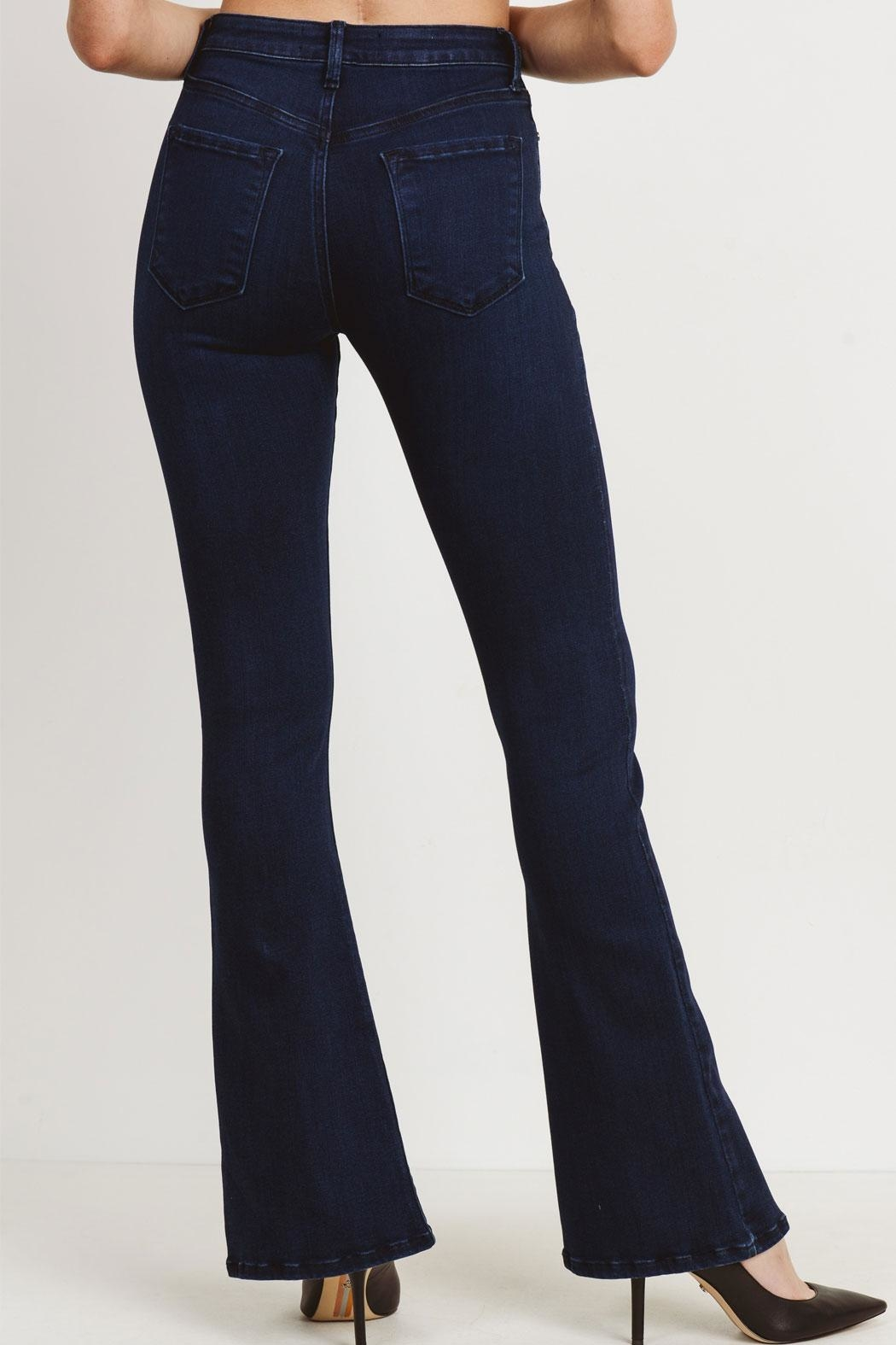 just black Slit Flare Jeans - Side Cropped Image