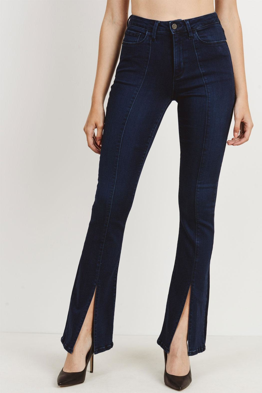 just black Slit Flare Jeans - Main Image