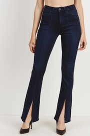 just black Slit Flare Jeans - Front cropped