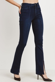 just black Slit Flare Jeans - Front full body