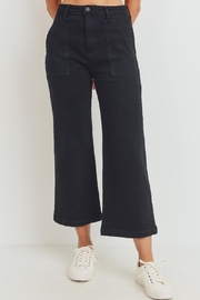 just black The Harlow Black Denim Pant (Usa Made, High Rise) - Front cropped