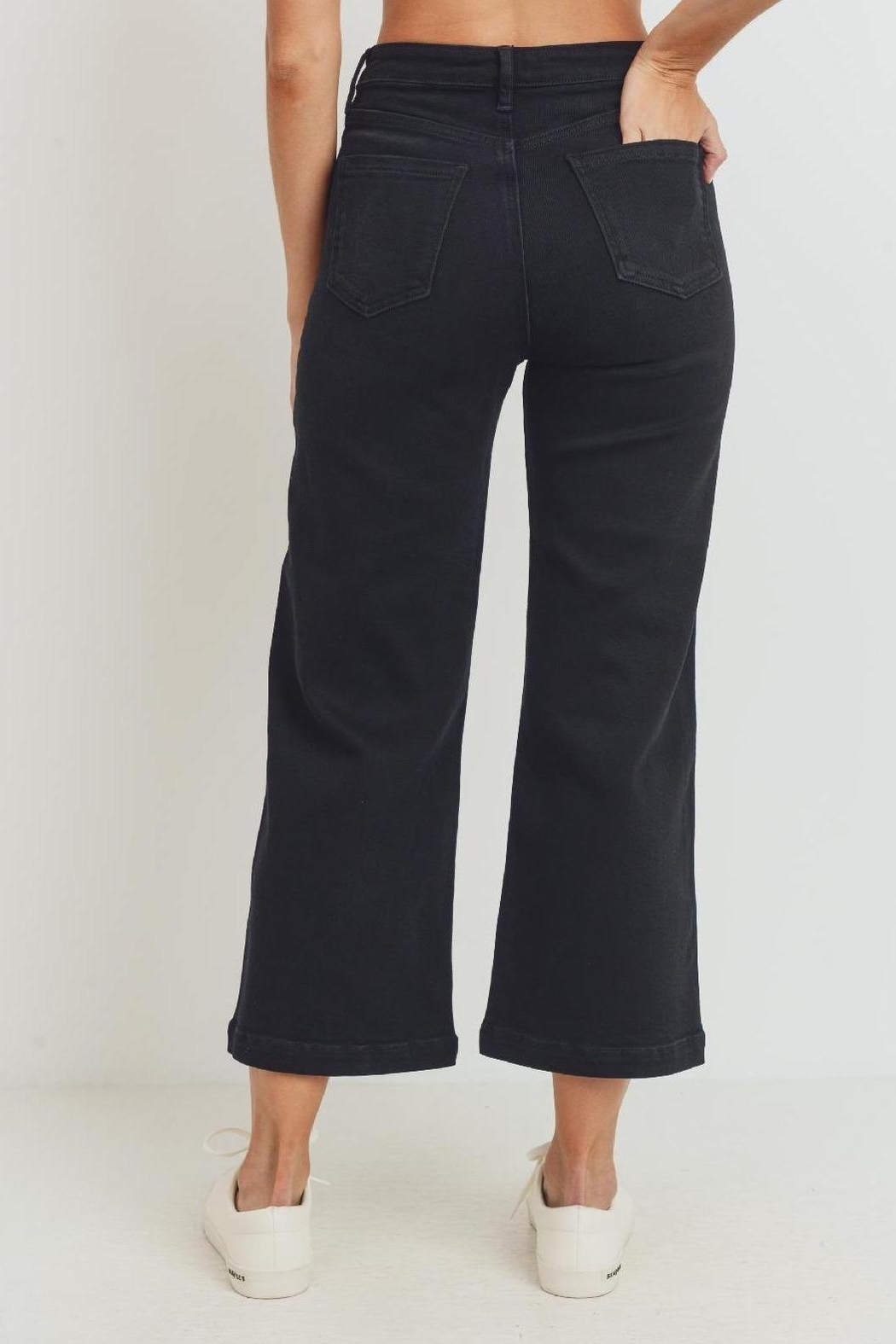 just black The Harlow Black Denim Pant (Usa Made, High Rise) - Front Full Image