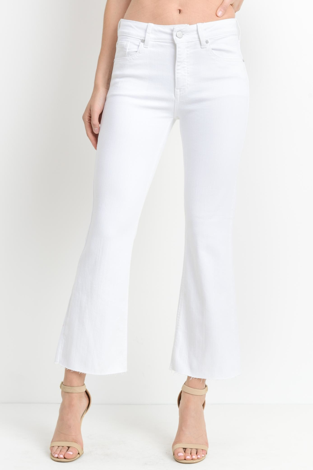 just black White Crop-Flare Jeans - Main Image