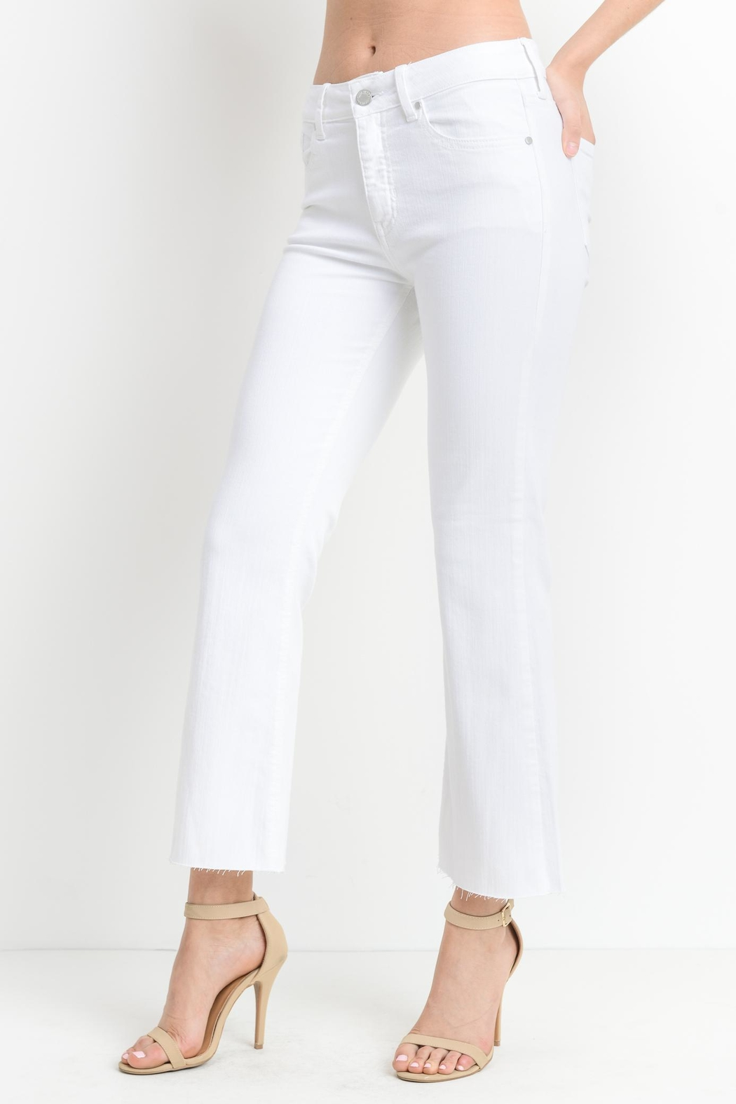 just black White Crop-Flare Jeans - Front Full Image