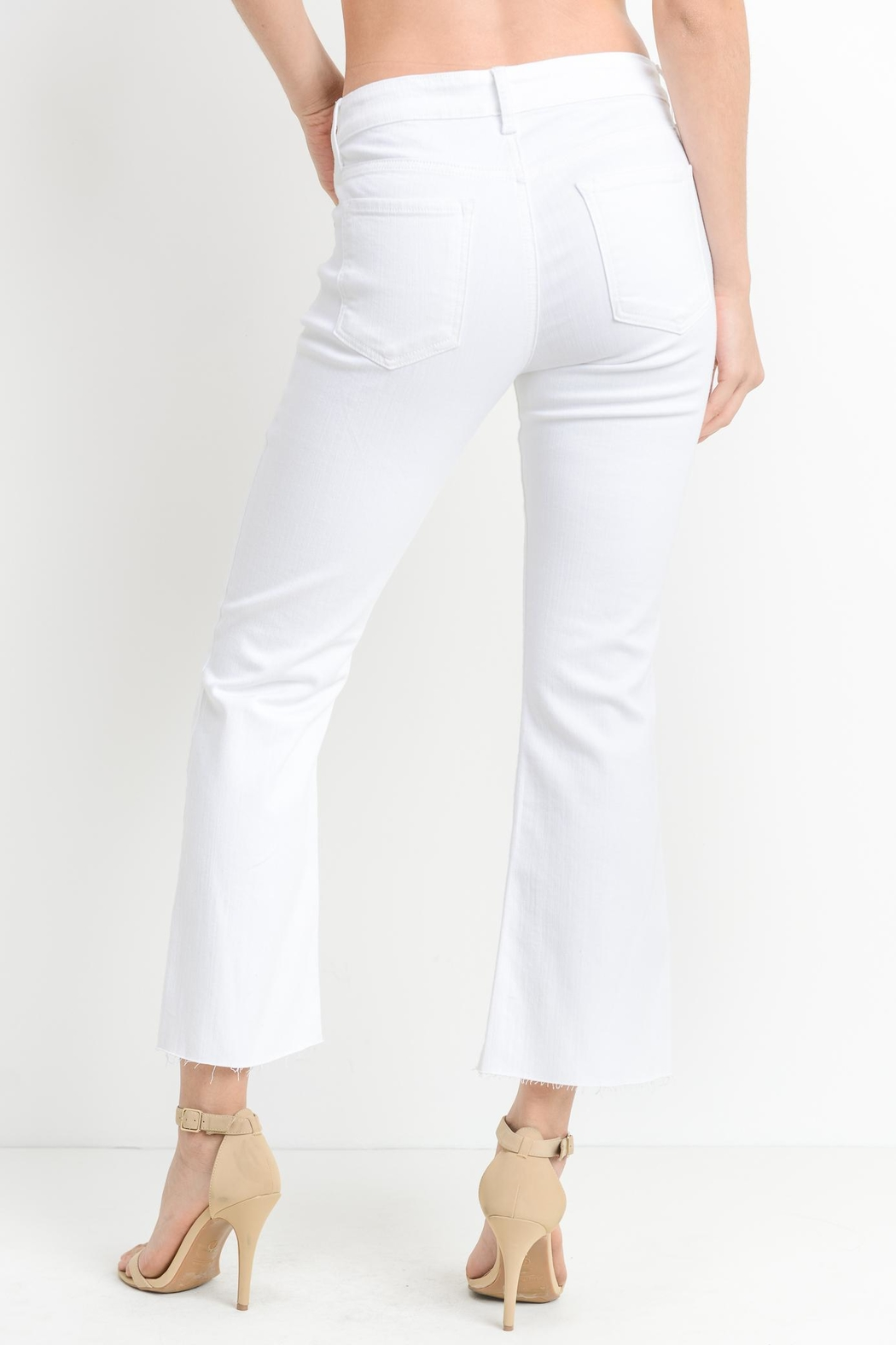 just black White Crop-Flare Jeans - Side Cropped Image