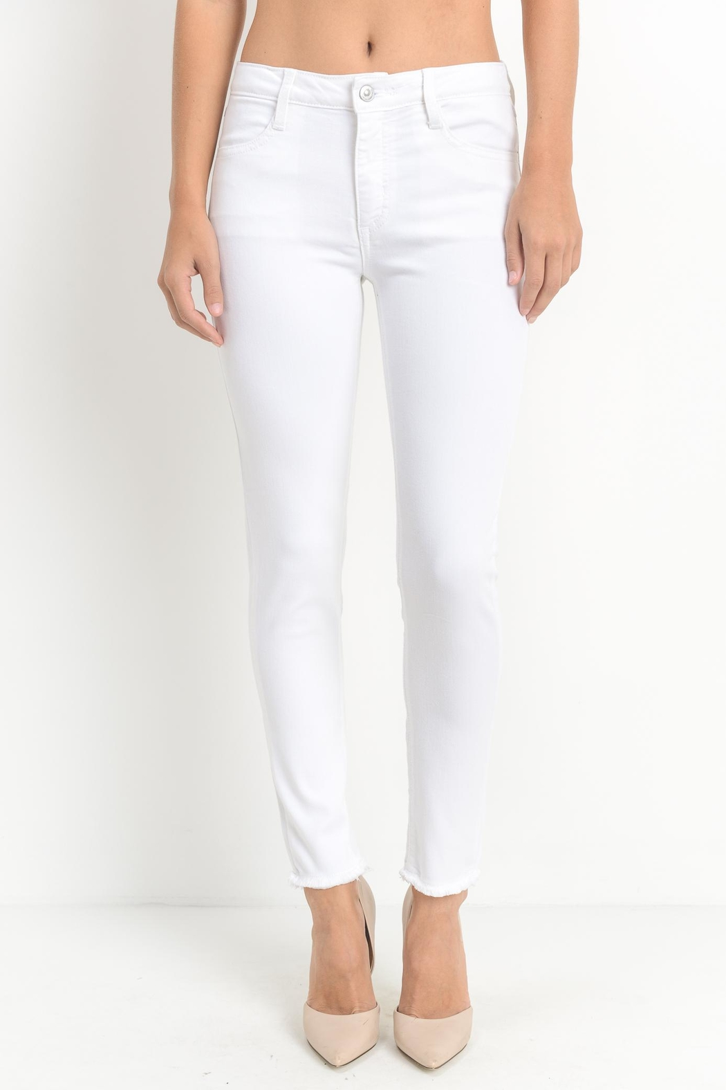 just black White Frayed Skinny - Front Cropped Image