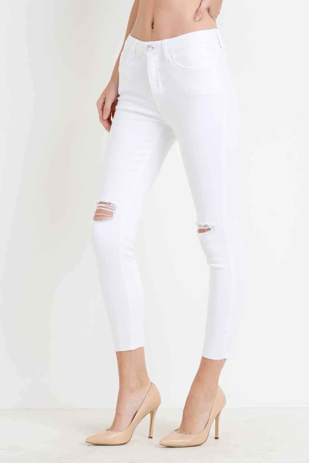 just black White Distressed Skinny Jean - Front Full Image