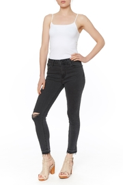 just black Destroyed Hem Jean - Product Mini Image