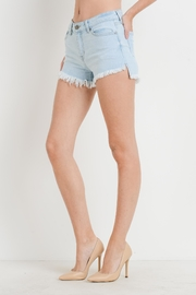 just black Hi-Lo Frayed Hem Shorts - Product Mini Image