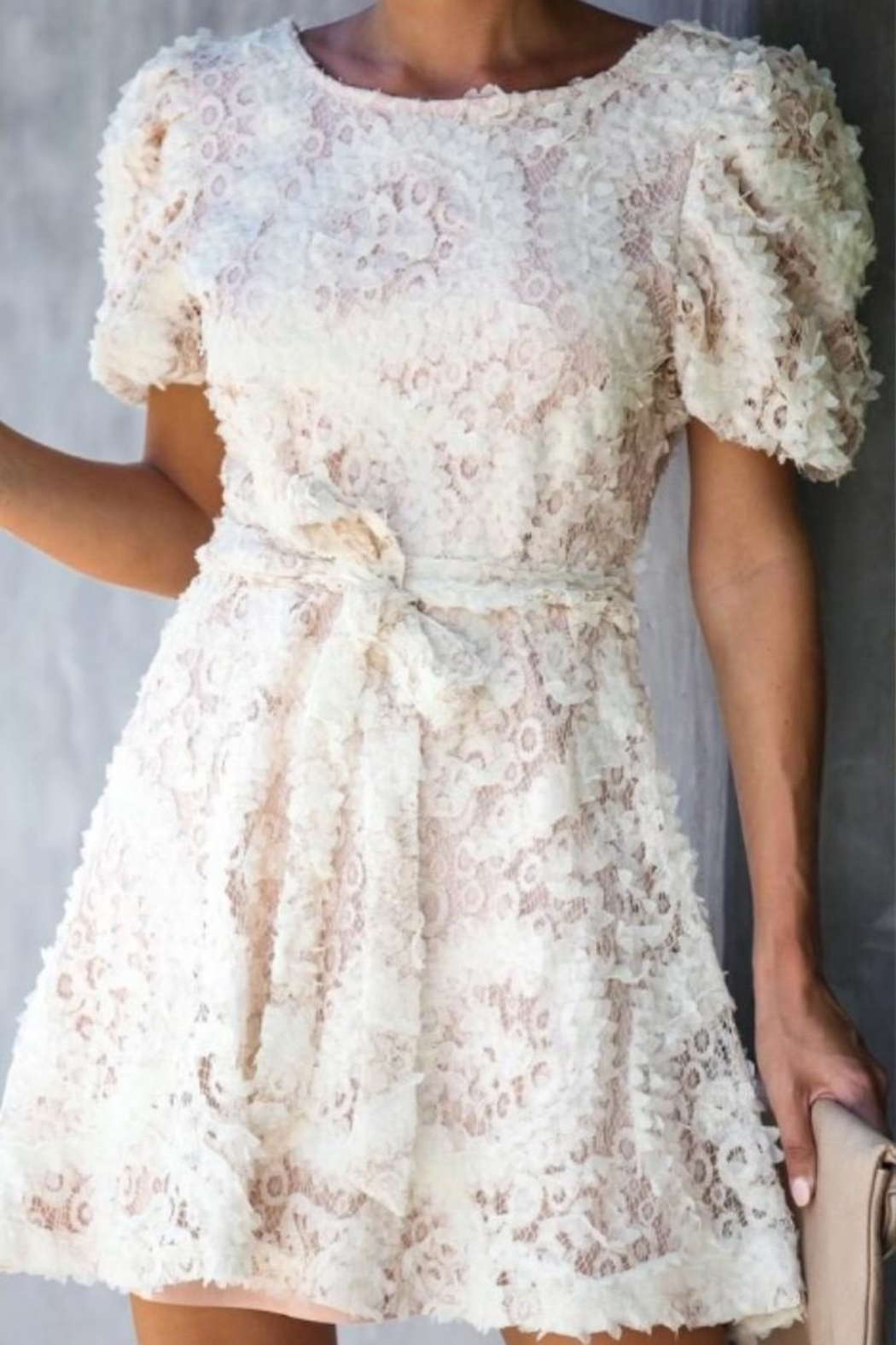 Just Me 3d Lace Dress - Front Full Image
