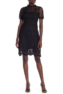 Just Me Black Fishnet Lace Dress - Product List Image