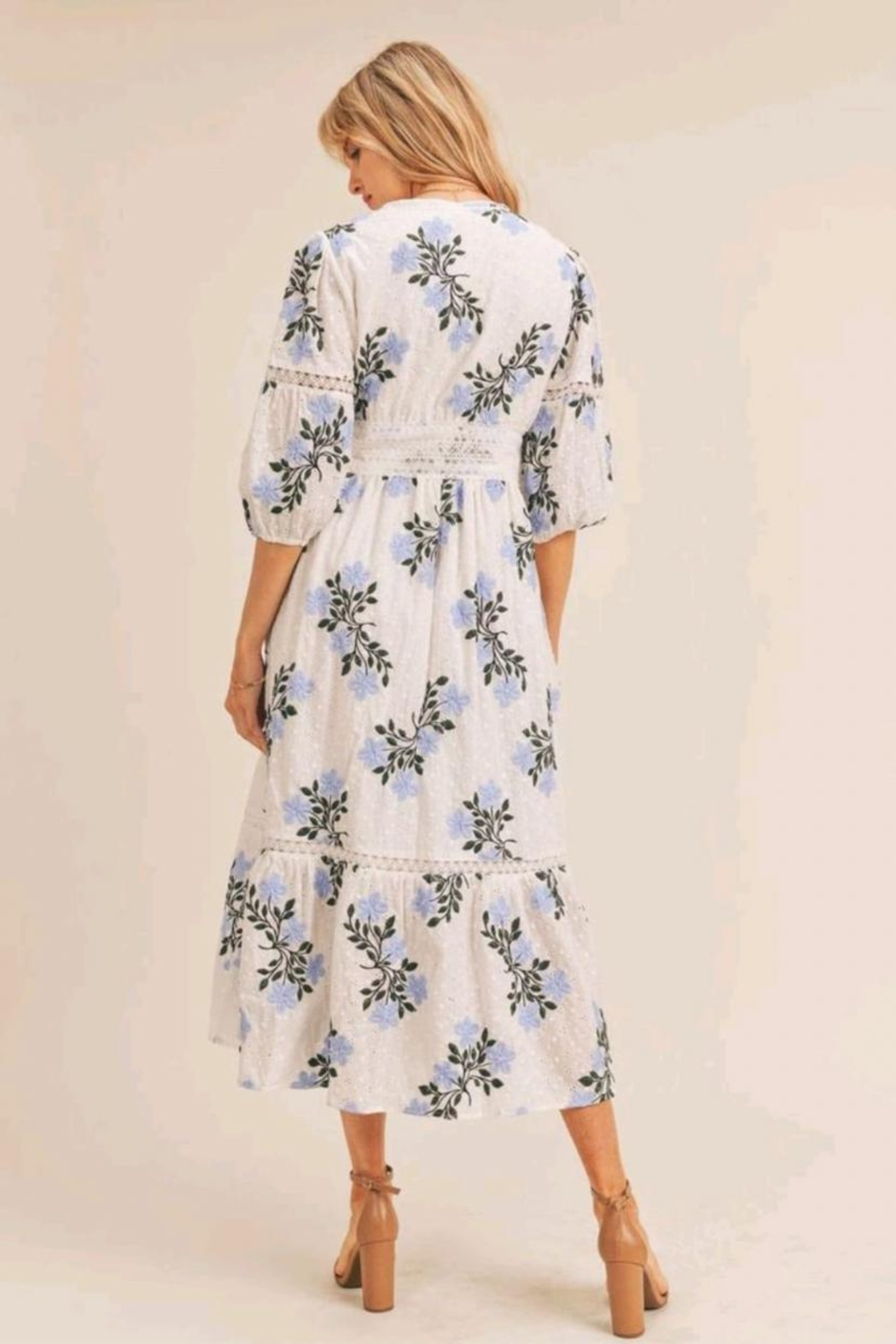 Just Me Floral Embroidered Dress - Front Full Image