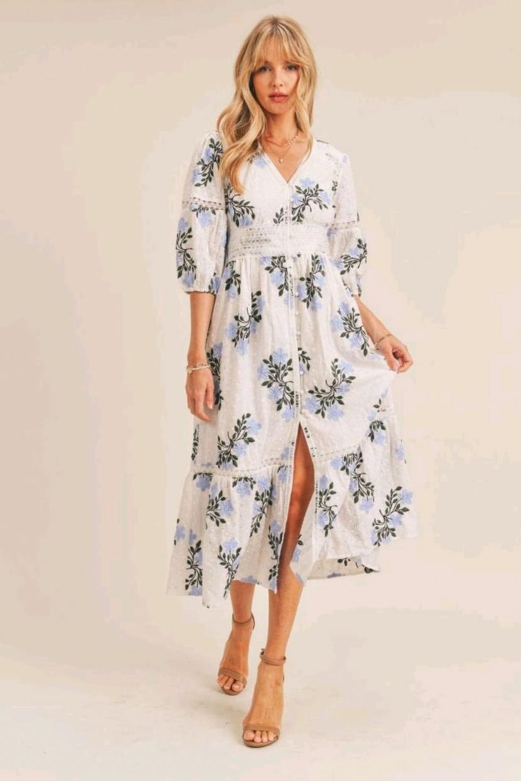 Just Me Floral Embroidered Dress - Main Image