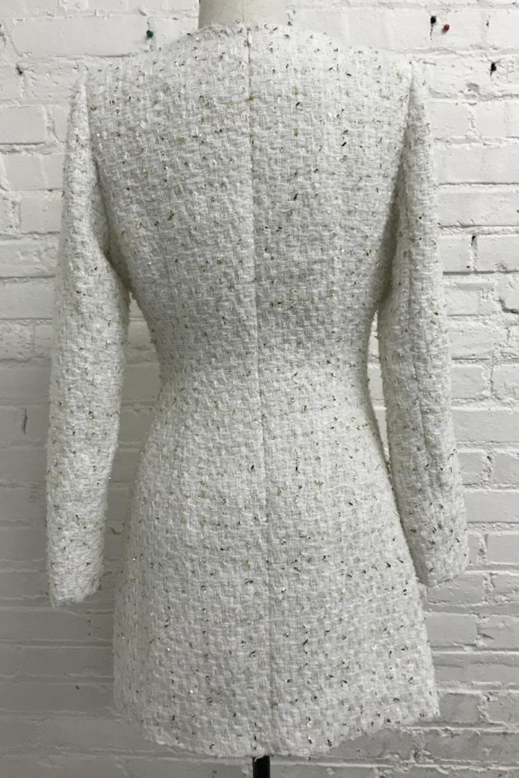 Just Me Long-Sleeve Tweed Dress - Front Full Image