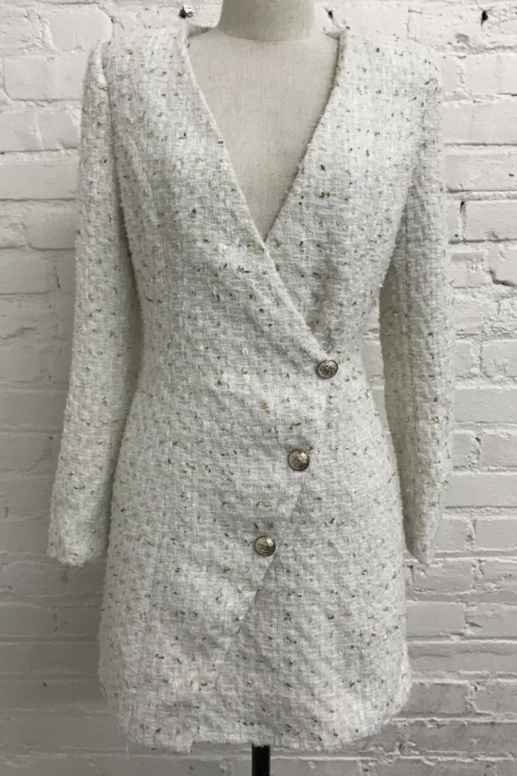 Just Me Long-Sleeve Tweed Dress - Front Cropped Image