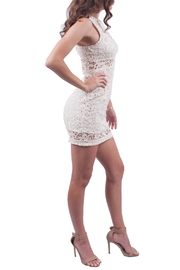Just Me Off White Lace Dress - Front full body