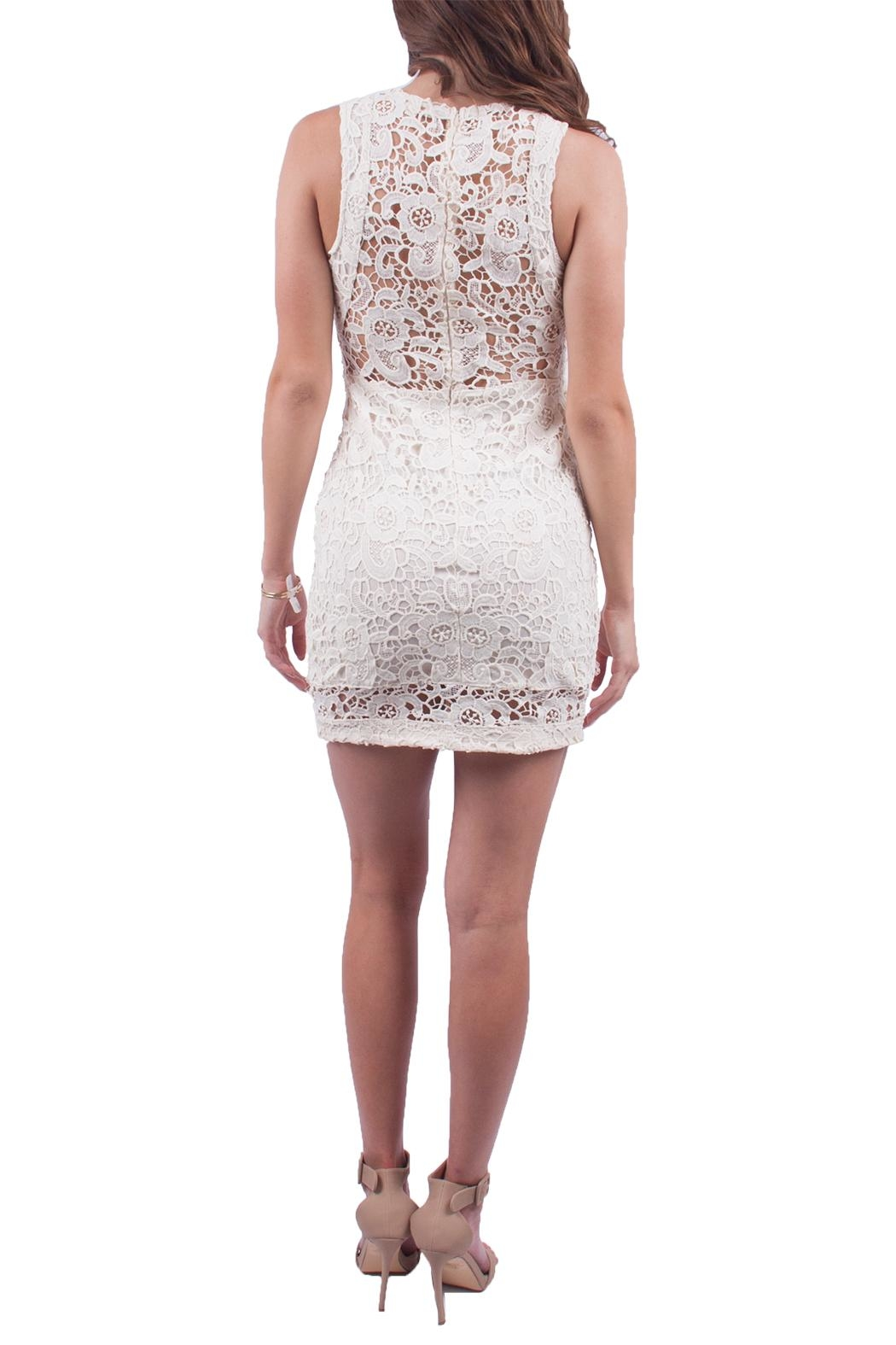 Just Me Off White Lace Dress - Side Cropped Image