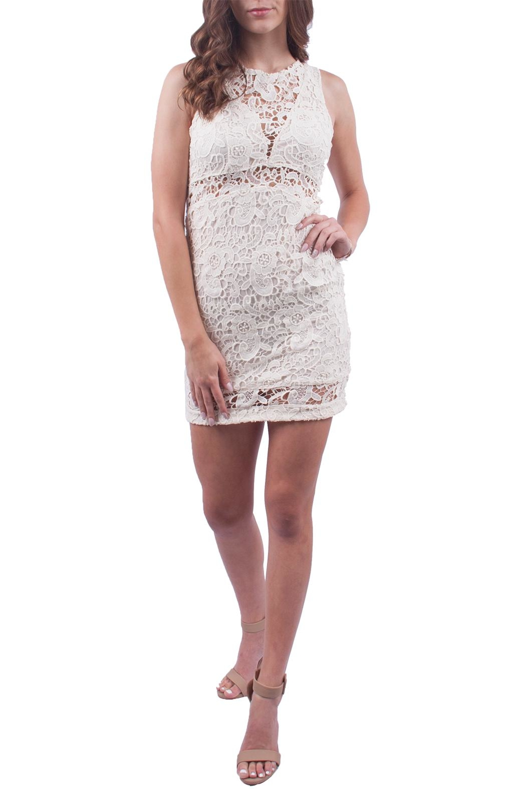 Just Me Off White Lace Dress - Main Image