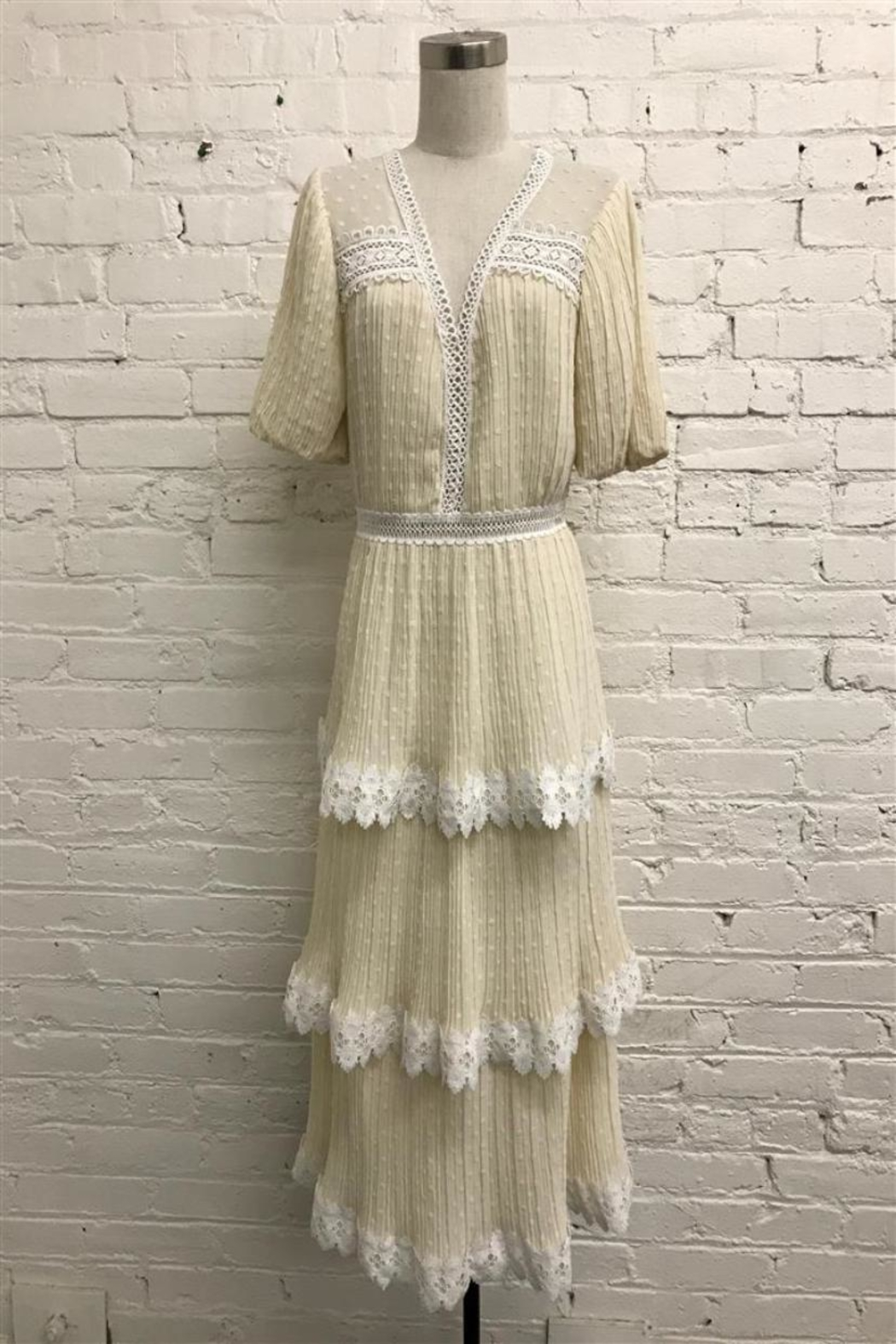 Just Me Pleated Tiered Dress - Main Image